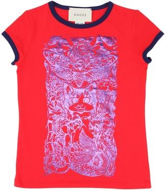 Gucci Metallic Cat Print Cotton Jersey T-shirt