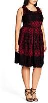 City Chic Royale Lace Fit & Flare Dress (Plus Size)