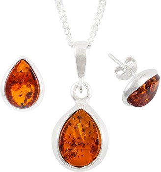 Be Jewelled Be-Jewelled Sterling Silver Tear Drop Amber Pendant Necklace And Earrings Gift Set, Amber