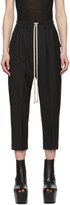 Rick Owens Black Wool Cropped Astaire Trousers