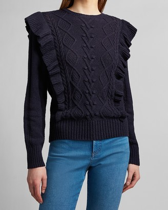 Express Ruffle Cable Knit Sweater