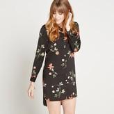 Apricot Black Floral & Leaf Print Longline Shirt Dress