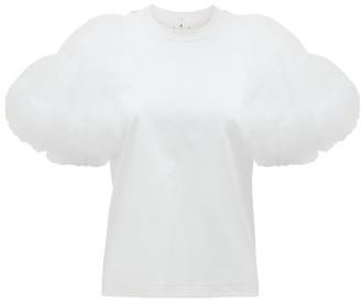 Noir Kei Ninomiya Tulle-sleeve Cotton-jersey T-shirt - White