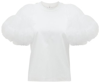 Noir Kei Ninomiya Tulle-sleeve Cotton-jersey T-shirt - Womens - White