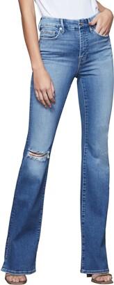 Good American Good Flare Ripped Split Hem Flare Jeans