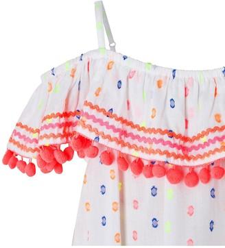 Accessorize Girls Dobby Spot Bardot Pom Pom Dress - White