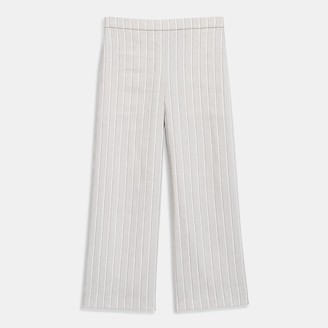 Theory Cropped Pull-On Pant in Striped Stretch Linen