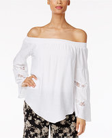 NY Collection Off-The-Shoulder V-Hem Top