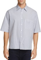 Vince Striped Boxy Classic Fit Button-Down Shirt