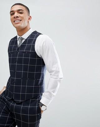 Asos Design ASOS Wedding Skinny Suit Vest In Navy Windowpane Check