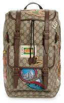 Gucci Men's Courier Flap Closure Supreme Canvas Backpack - Beige