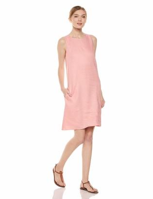 28 Palms Women's 100% Linen Hawaiian Print Sleeveless Shift Dress with Pockets