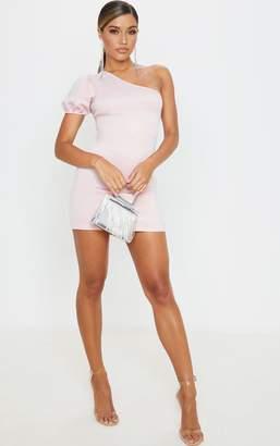 PrettyLittleThing Dusty Pink One Shoulder Puff Sleeve Scuba Bodycon Dress
