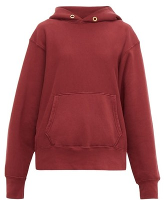 LES TIEN Loop-back Cotton-jersey Hooded Sweatshirt - Burgundy