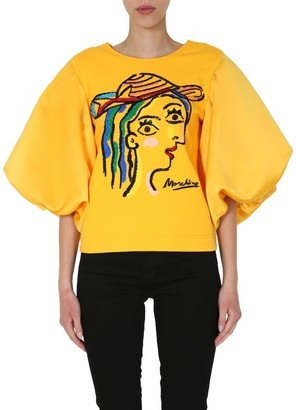 Moschino Embroidered Puff Sleeve Blouse