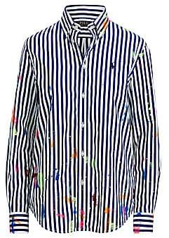 Polo Ralph Lauren Women's Paint Splatter Striped Button-Down Shirt