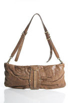 Kooba Brown Leather Embellished Gold Tone Small Bageutte