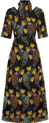 Fendi Cutout Embroidered Chiffon And Guipure Lace Midi Dress
