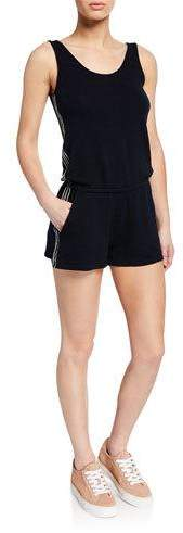 Scoop-Neck Tank Romper w- Contrast Side-Stitching