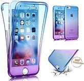 "iPhone 6S Case, iPhone 6 Case,PHEZEN Scratch Proof 360 Front and Back Full Body Protection Flexible TPU Bumper Case Anti-Scratch Protective Case For iPhone 6/6S 4.7"", Gradient Blue Purple"