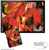 1art1® Set: 1 Door Mat Floor Mat (28x20 inches) + 1 Mouse Pad (9x7 inches) - Franz Marc, Foxes, 1913