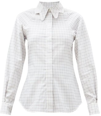 Victoria Beckham Butterfly-collar Checked Cotton Shirt - Ivory Multi