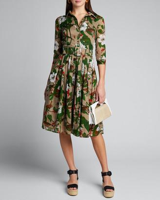 Samantha Sung Audrey 2 Hibiscus Print Belted 3/4-Sleeve Shirtdress