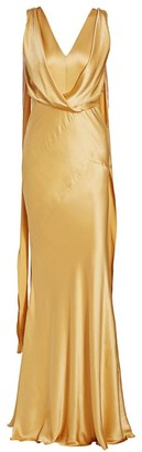 Alberta Ferretti Sleeveless Draped Silk Gown