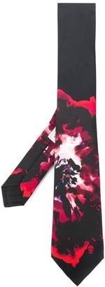 Alexander McQueen Watercolour-Effect Flower Tie