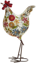 Woodland Imports Floral Metal Rooster Figurine
