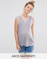 Asos V Neck Tank Top in Rib with Tipping