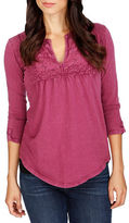Lucky Brand Lace-Trimmed Pleated Top