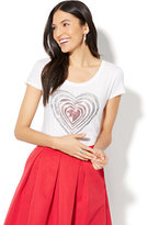 New York & Co. Ombré Sequin Heart Graphic Logo T-Shirt - White
