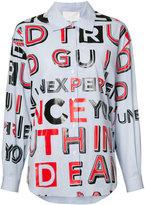 Maison Margiela striped letter print shirt - women - Cotton - 42