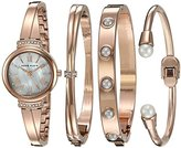 Anne Klein Women's AK/2372RGST Swarovski Crystal Accented Rose Gold-Tone Bangle Watch and Bracelet Set