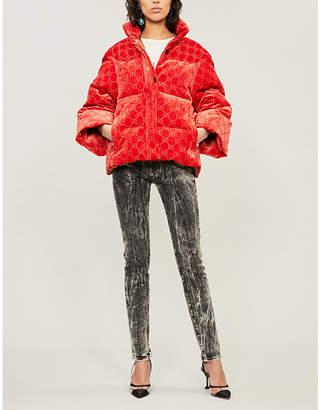 Gucci Padded velvet-down hooded puffer jacket