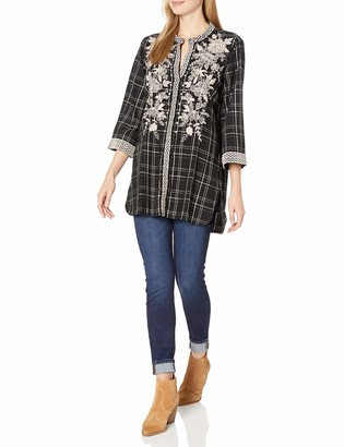 3J Workshop by Johnny was Women's Plaid Embroidered Kimono Sleeve Tunic