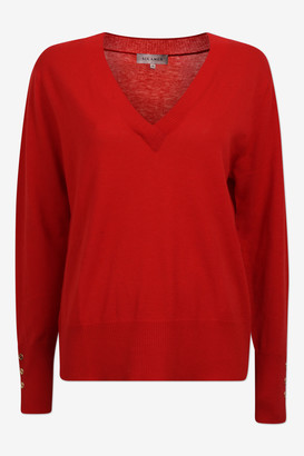 Six Ames - Ambre red merino V-neck jumper - merino wool | red | S . - Red/Red