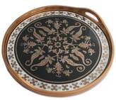 Andean Black and Gold Reverse Painted Glass Serving Tray, 'Black Colonial Medallion'