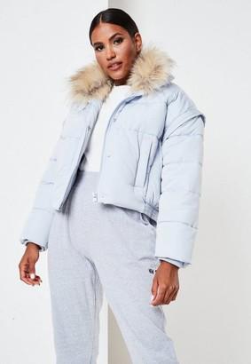 Missguided Petite Blue Faux Fur Trim Puffer Jacket