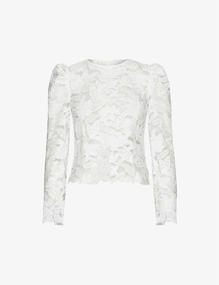 Self-Portrait Floral-embroidered puff-shoulder lace top