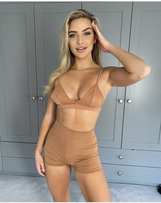 Outrageous Fortune Tan Lounge Crop Top And Shorts Co-ord Set