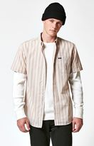Brixton Howl Striped Short Sleeve Button Up Cream Shirt