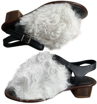Topshop Black Shearling Mules & Clogs