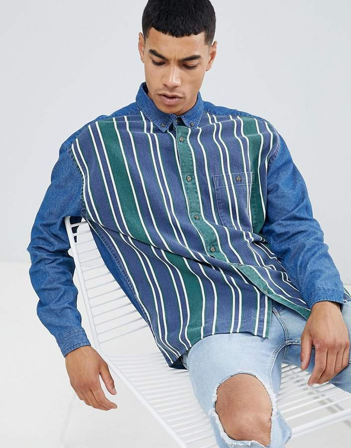 Asos DESIGN oversized denim shirt with stripe front