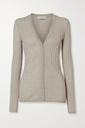 Gabriela Hearst Homer Ribbed Pointelle-knit Cashmere And Silk-blend Cardigan - Taupe
