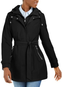 Nautica Hooded Belted Water-Resistant Raincoat