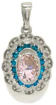 Tatitoto Clearance Women's Pendant in 18k Gold with Pink Cubic Zirconia and Azure Cubic Zirconia, 5 Grams