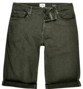 River Island MensKhaki skinny fit denim shorts