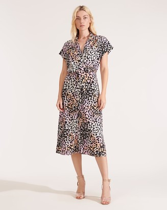 Veronica Beard Amani Watercolor Leopard Dress